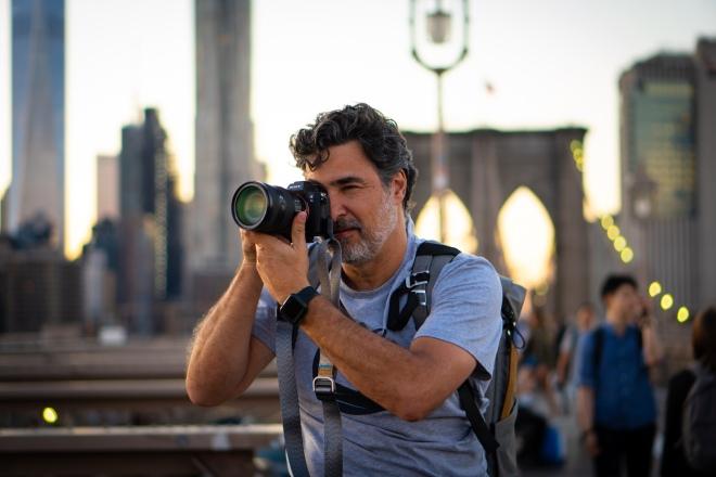 Alexandre Suplicy na Ponte do Brooklyn em Nova York